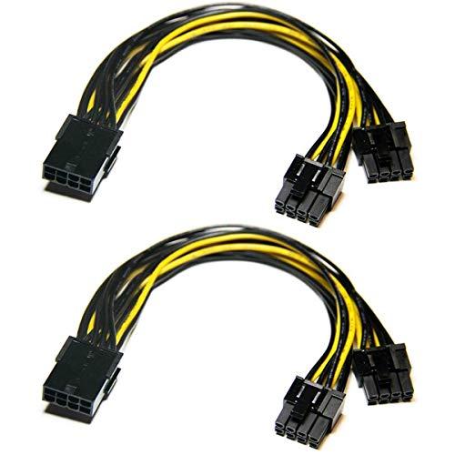 Grafikkarte Kabel,6-Pin-auf-8-Pin-PCIe-Adapter-Stromkabel, 2er-Pack 6-Pin-auf-Dual-PCIe-8-Pin (6+2) Grafikkarten-PCI-Express-Stromadapter GPU VGA Bergbau-Videokarten-Konverterkabel