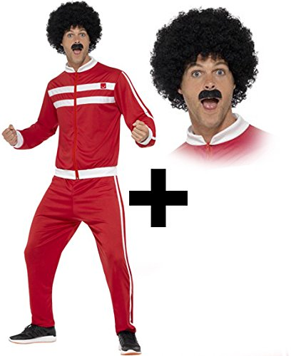 Scouser Tracksuit + Wig + Tash Mens Fancy Dress Sports 1980s Adults 80s Costume (Large 42 -44'...