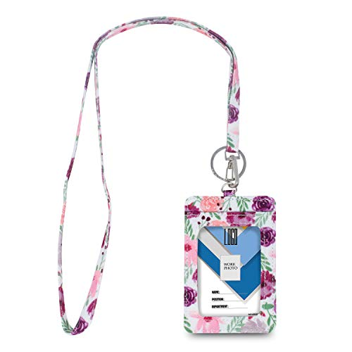 Limeloot Watercolor Flowers Lanyard with ID Badge Holder and Key Ring