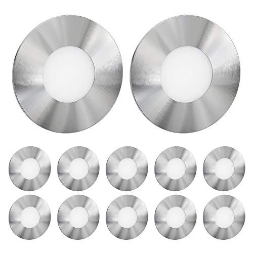 ledscom.de LED lámpara de Escalera FEX lámpara empotrable en la Pared, Redondo, 8,5cm Ø, 230V, Blanca fría, 12 UDS