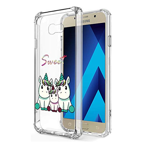Zhuofan Plus Funda Samsung Galaxy A3 2017, Silicona Suave Clara Transparent TPU Gel con Diseño Airbag Print Pattern Anti-rasguños Shockproof Protactivo Cover para Samsung Galaxy A3 2017, 3 Unicornio
