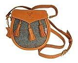 Bolso de mano Harris Tweed Sporran de cuero marrón y diseño personalizado
