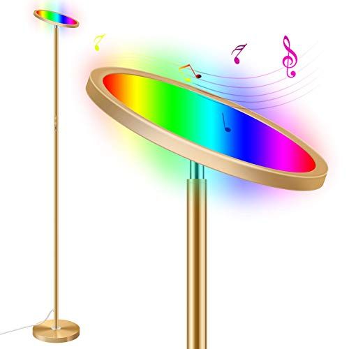 Smart Torchiere Floor Lamp, 25W RGBCW Color Changing LED Standing Lamp Work with Alexa & Google, Sync to Music, Dimmable & Remote Control, 2000lm 66in Golden Super Bright for Living Rooms, Bedrooms