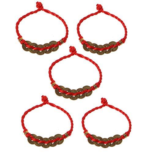 JinYu - Juego de 5 pulseras chinas de monedas de Feng Shui monedas I-Ching monedas tradicionales con cuerda roja para riqueza y éxito