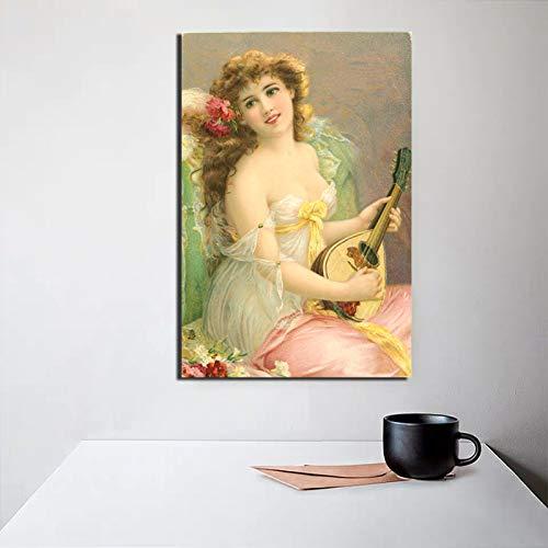 KWzEQ Schöne Malerei der berühmten Malermusik auf Leinwand Wohnzimmerdekoration Moderne Wandkunst Ölgemälde,Rahmenlose Malerei,60x75cm