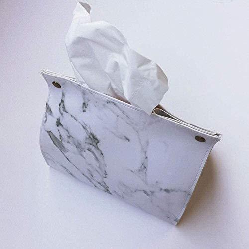 TLF-FF tisular caja de pañuelos de almacenamiento caja de dispensadores de papel higiénico Moda Cocina cuero de la PU caja del tejido patrón de mármol Soporte for coche nórdica Estilo Portable Office
