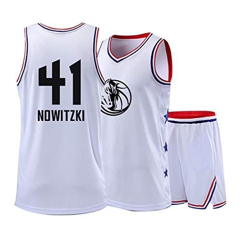 FDSH Basketball Trikot # 41 Dirk Werner Nowitzki Trikot, Klassisch Ärmellos, Unisex-Fans Must-Have, Retro Team Trikotanzug-White-5XL