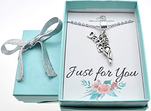 """Little girls dance ballet slippers necklace in silver toned metal on a 14"""" stainless steel cable chain with two inch extender. Dance Gift."""