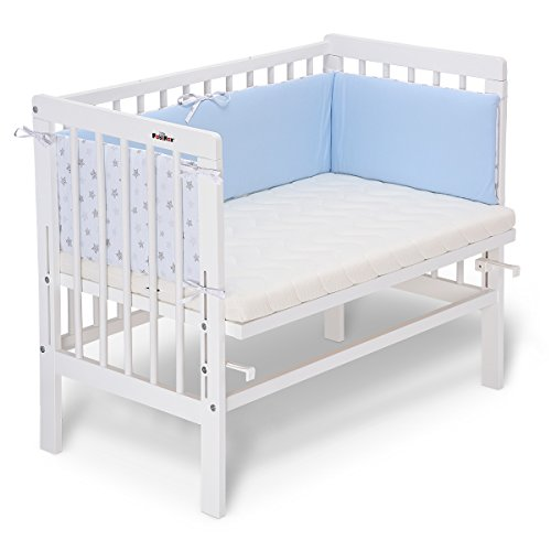 FabiMax 3901 Beistellbett BASIC weiß, inkl. Matratze COMFORT und Nestchen Sterne klein, blau