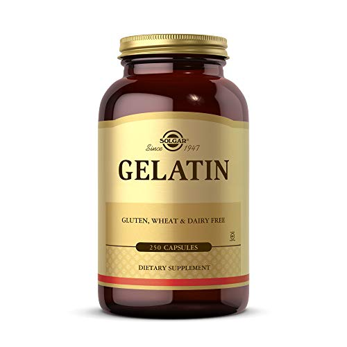 Solgar Gelatin 1680 mg, 250 Capsules - Natural Gelatin - Supports Bone, Joint & Skin Health - Gluten Free, Dairy Free - 83 Servings