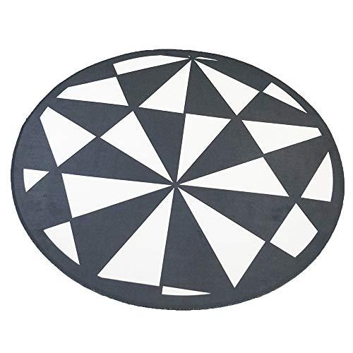 JALAL Unterlegteppich Schwarzweiss-Dreieck-runder Teppich-Computer-Drehstuhl-Auflage-Korb Nordic Einfacher Teppich