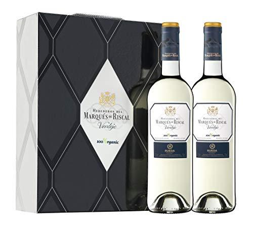 Marqués de Riscal - Vino blanco Denominación de Origen Rueda, Variedad 100% Verdejo, 100% Organic con certificación ecológica - Estuche 2 botellas x 750 ml - Total 1500 ml