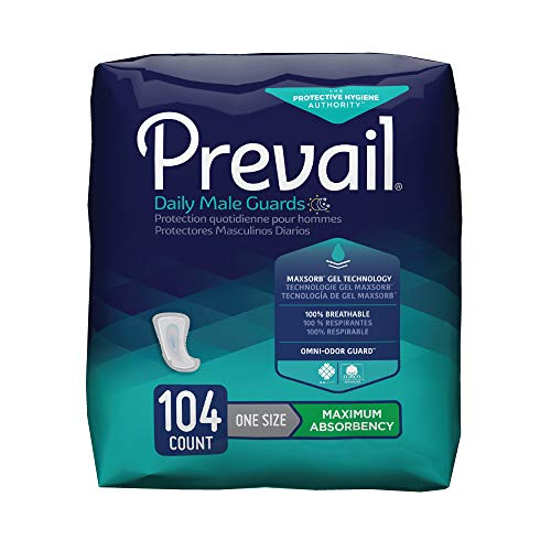 Prevail Maximum Absorbency Incontinence Male Guards, One Size, 104 Count