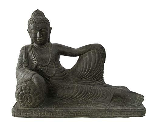 Bouddha couché Relaxed, 80 cm, figurine en pierre, coulé en pierre, résistant au gel