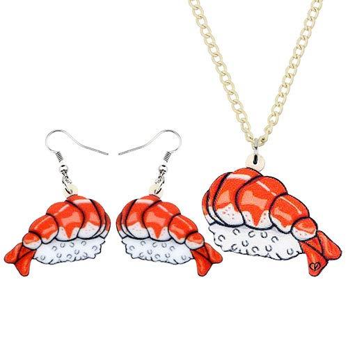 AdronQ® Acryl-Schmuck-Sets Garnelen-Sushi-Reis-Lebensmittel-Halskette Ohrring Anime Funny Pendant Teens Charm Party