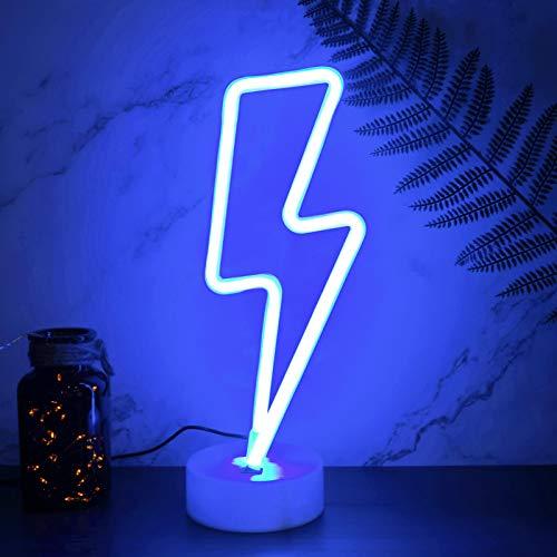 YIVIYAR Neonlicht LED Lightning Sign Leuchtreklame Zimmer Deko Licht mit Sockel, Batterie oder USB-Betrieb Cooles Gadget Nachtlicht Dekor für Zuhause, Kinderzimmer, Gaming Zimmer Deko(Blue Lightning)