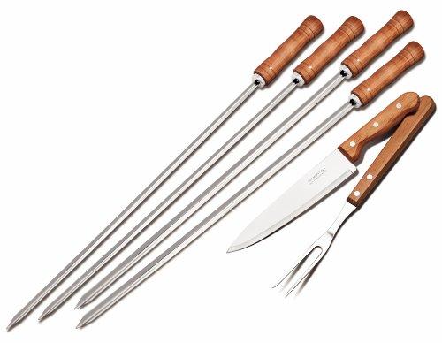 トラモンティーナ バーベキュー道具 6pc (スキュアーx4 ナイフ カービングフォーク) 26499/027