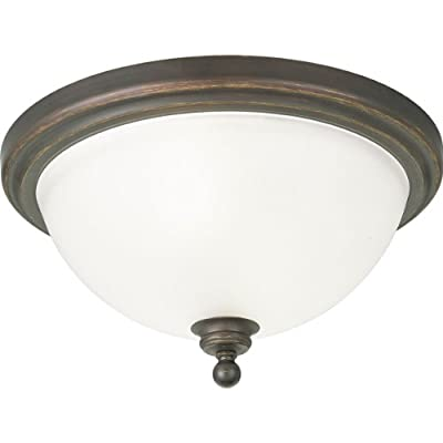 Progress Lighting P3312-09 2-Light Close-to-Ceiling Fixture with White Etched Glass