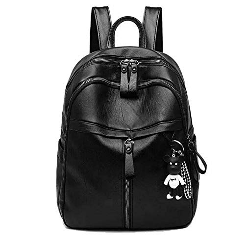 2020 New Fashion Woman Backpack High Quality Youth PU Leather Backpacks for Teenage Girls Female School Bag Hot Sale (Color : Black)