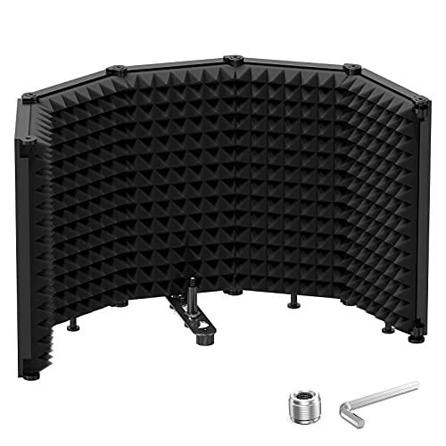 """Moukey Escudo aislante compacto para micrófono de sobremesa, plegable con montaje roscado de micrófono de 3/8"""" y 5/8"""""""