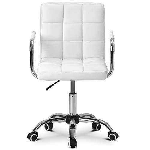 Belissy Silla giratoria con ruedas, silla de oficina, silla de escritorio, silla giratoria con ruedas, silla de oficina, taburete de trabajo,altura regulable de piel sintética, color blanco