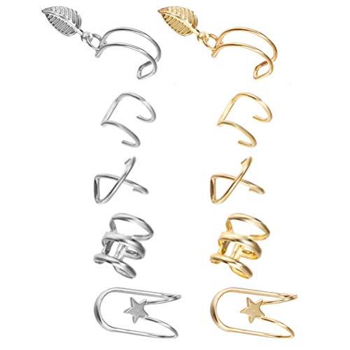 Holibanna 10 peças de clipes de orelha não perfurados para cartilagem, conjunto de brincos com clipe de orelha falso, cartilagem, brincos sem piercing, hélice, cartilagem, clipe de orelha (prata dourada)