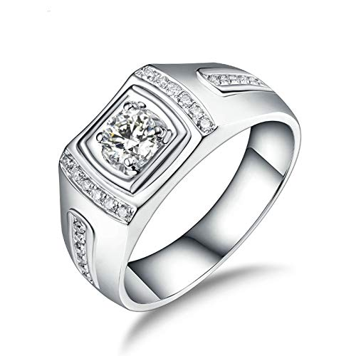 Adisaer 18K Ring Gold,Ring for Him 4-Prong 18K White Gold Men Ring White Gold Promise Ring 0.3CT Diamond and 0.17CT Diamond Size W 1/2
