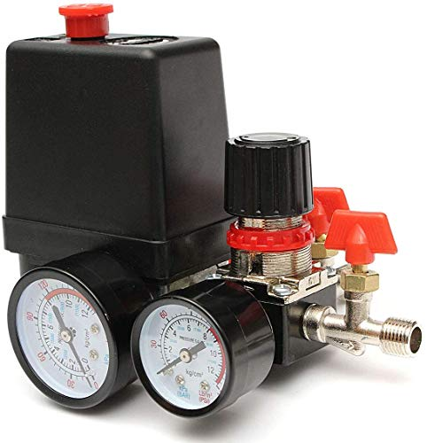 Air Compressor Pressure Control Switch, 90-120 PSI Pressure Switch Manifold Regulator Gauges Air Compressor Pressure Switch Control with Pressure Regulator Gauges Relief Safety Valve Fittings Set