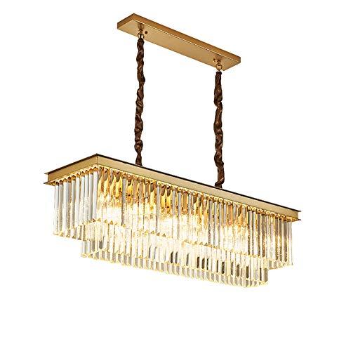 Contemporáneo Cristal Candelabro Rectangular Colgante De Luz Ajustable Altura Lámpara De Techo Encendiendo Luminarias Para Comedor Sala Isla De Cocina-Dorado 80 * 30 * 27cm