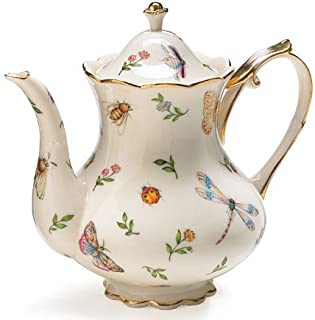 Porcelain Butterfly & Dragonfly Teapot Trimmed In Gold