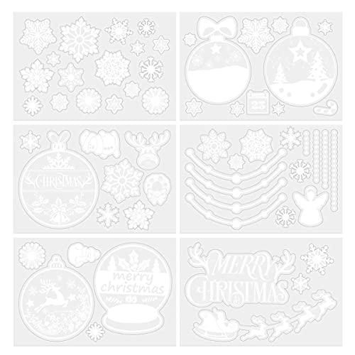 SHWYSHOP 6 Hojas de Pegatinas de Ventana de PVC de Navidad extraíbles Campana de Copo de Nieve Reno muñeco de Nieve calcomanías Decoraciones para la Cama de la Sala de Estar