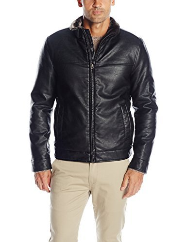 Dockers Men's Smooth Lamb Faux Leather Stand Collar Jacket with Full Faux Fur Lining, Black, XX-Large