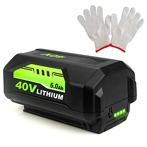 Upgraded to 6.0Ah OP4026 40 Volt Replacement Battery Compatible with Ryobi 40V Lithium ion Battery Ryobi 40V Battery OP4050A OP40601 OP4026A OP4040 OP4030 OP4050 OP4015+1 Pair of Gloves
