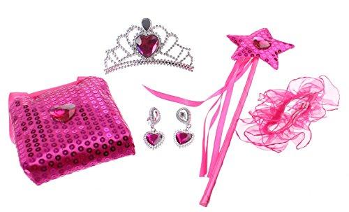 Princess Secret Kinder Prinzessinen-Krone Diadem mit Ohrringen Handschuhen und Täschchen in einem Kofferset in der Farbe rosa