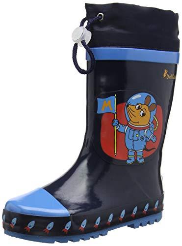 Playshoes Kinder Gummistiefel aus Naturkautschuk, trendige Unisex Regenstiefel mit Reflektoren, mit Sternen-Muster, Blau (marine 11), 24/25 EU