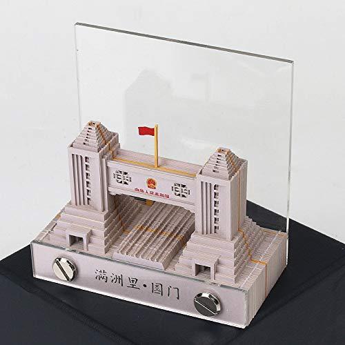 Creatieve 3D driedimensionale notitie papier bedrijf gift op maat Manchuria nationale poort gebouw model gemak plakken