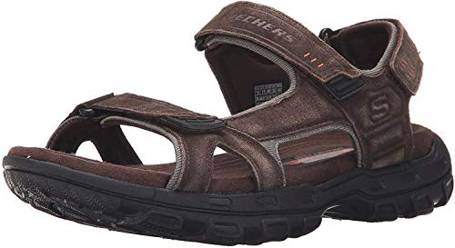 Skechers USA Men's Gander Alec Flat Sandal, Brown/Black, 8 M US