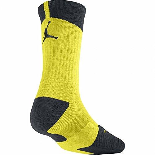 Nike Herren Jordan Dri-FIT Crew Socken, Herren, 530977 706, Schwarz, leuchtendes Gelb, 12-15