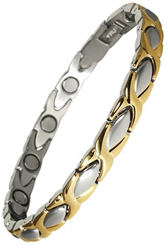 Original YINGA-VITAL® Magnetschmuck Damen Magnet Armband im Stil Bicolor silber-gold mit 11 Magneten á 3000 Gauss. Länge: 19.5 cm