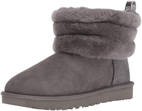 UGG Fluff Mini Quilted Charcoal Botas de Gamuza Gris 36 Charcoal