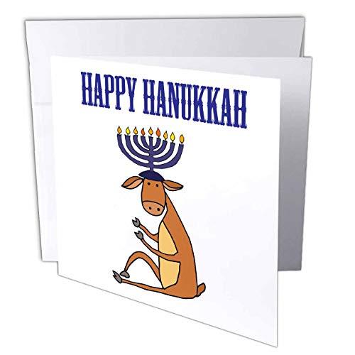 3dRose Funny Reindeer with Menorah Candles Antlers Happy Hanukkah - Greeting Card, 6 by 6-inch (gc_263924_5)
