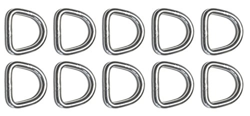 10 Pieces Stainless Steel 316 D Ring Welded 5mm x 25mm (3/16' x 1') Marine Grade Dee