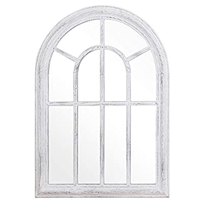 "Rose Home Fashion RHF Mirror,Decorative Torched Wall Hanging Mirror,Rustic Wood Frame Arch Mirror, Boho Wall Decor, Farmhouse Decor, 20"" by 27.5"", White"