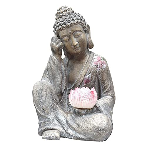 LAHappy Escultura de Buda de Jardín, Vintage Buda Estatua Lámpara Solar Arte Artesanía Zen Garden Personalidad Decoración, 31x29x50cm