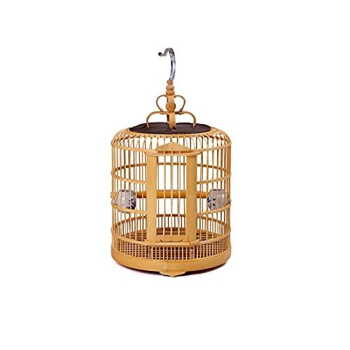 Hong Yi Fei-Shop Jaula Pájaros 33 cm Jaula de pájaros jaulas de pájaros de bambú Starling Special Head Thrush Cause Pequeño Parrot Eye Bordado Conjunto Completo Jaula