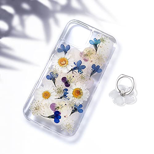 Linyune for iPhone 13 Flower Case with Ring Holder, Pressed Real Flowers Clear Case with Floral Design for Cute Girls Women,Soft TPU Flexible Rubber Bumper Cover for iPhone 13,6.1 inch Navy Blue