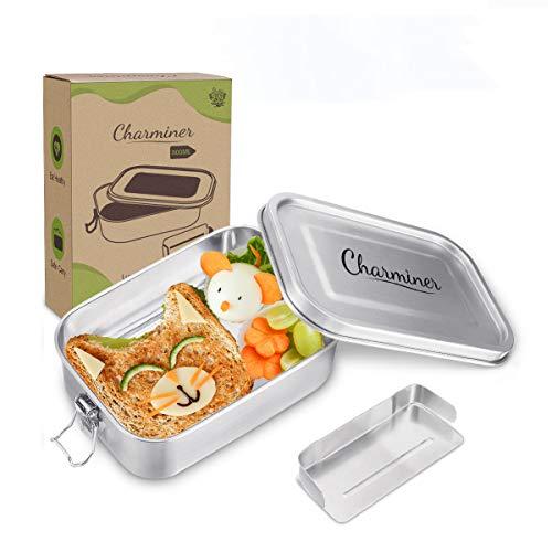 Charminer Brotdose Edelstahl [800ml] für Kinder,Auslaufsicher Metall Dichte Brotdose Lunchbox,Die Frischhaltedose mit beweglicher Trennwand Plastikfrei Nachhaltig