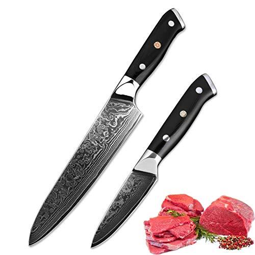 Cuchillos cocina 2pcs Set VG10 Damasco Acero Cuchillo de cocina 8'+3.5' pulgada 67 capas Peeling Chef Knife Utility