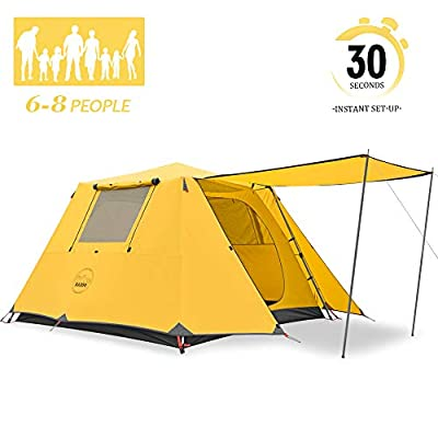 KAZOO Family Camping Tent Large Waterproof Pop Up Tents 4/6/8 Person Room Cabin Tent Instant Setup with Sun Shade Automatic Aluminum Pole (S6P-Y)