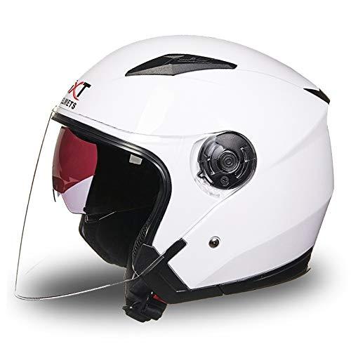 Moto électrique pour hommes et femmes. Casque de voiture à batterie anti-UV à double lentille recouverte d'une double lentille. (Color : White)
